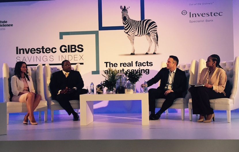 René Grobler (Investec), Dr. Adrian Saville (GIBS) and Gerald Mwandiambira (SA Savings Institute) discuss savings with Gugulethu Cele at the launch of the Investec GIBS Savings Index