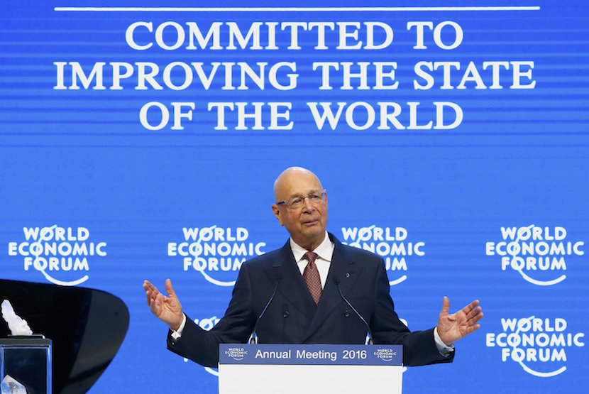 WEF Executive Chairman and founder Klaus Schwab addresses his welcome message to members during the annual meeting of the World Economic Forum (WEF) in Davos, Switzerland January 19, 2016. REUTERS/Ruben Sprich
