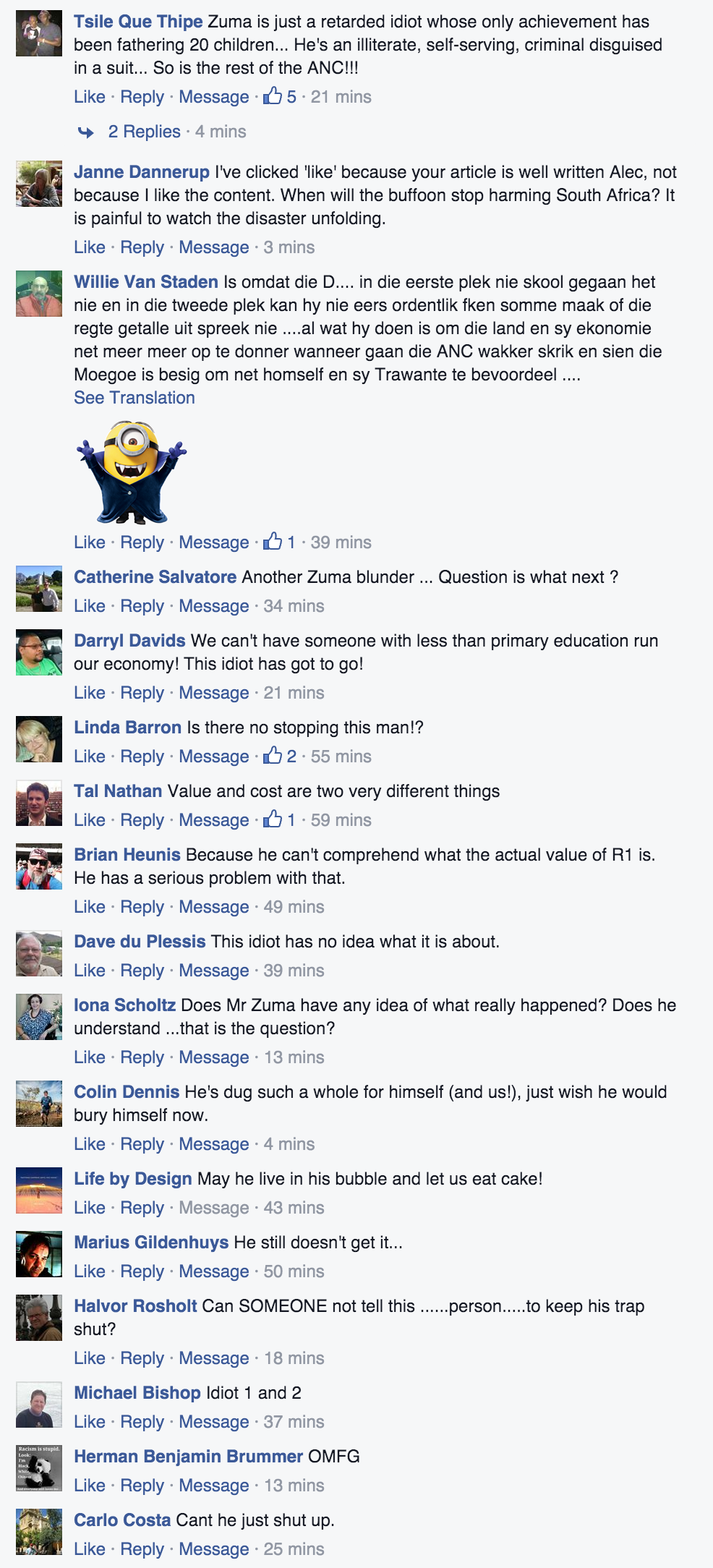 Some of the comments under the link to this piece on Alec Hogg's Facebook page.
