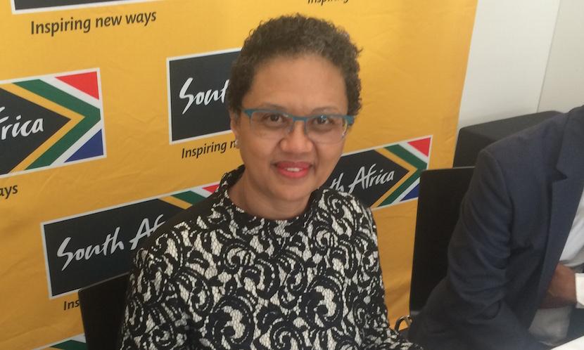 Tina Joemat-Petterson at a press briefing in Davos, Switzerland. Pic: Alec Hogg