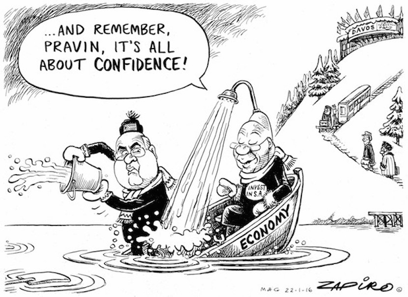 Jacob Zuma and Pravin Gordhan at Davos trying to stimulate investment in the South Africa economy. More magic available at Zapiro.com.