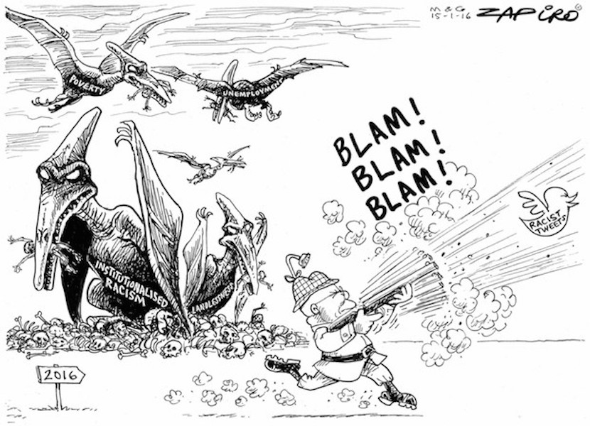 Can South Africa Shake Off its Racist Past? More Zapiro magic available at Zapiro.com. © 2016 - 2016 Zapiro (All Rights Reserved) Printed/Used with permission from www.zapiro.com""