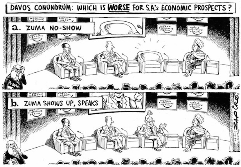 Zapiro asks whether it is better or worse for South Africa that President Jacob Zuma never showed up for the debate at Davos, Switzerland, More magic on Zapiro.com.