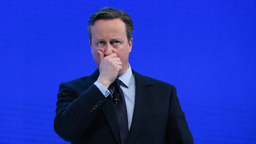 David Cameron, U.K. prime minister, reacts during a special session at the World Economic Forum (WEF) in Davos, Switzerland, on Thursday, Jan. 21, 2016. World leaders, influential executives, bankers and policy makers attend the 46th annual meeting of the World Economic Forum in Davos from Jan. 20 - 23. Photographer: Matthew Lloyd/Bloomberg