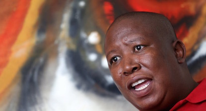 EFF follow Cope out #SONA2016 door. Singing '#Zuptamustfall'.