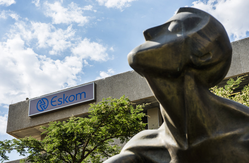 A metal sculpture stands outside the headquarters for Eskom Holdings SOC Ltd., South Africa's state-owned electricity utility at Megawatt Park in Sandton, near Johannesburg, South Africa. Photographer: Waldo Swiegers/Bloomberg