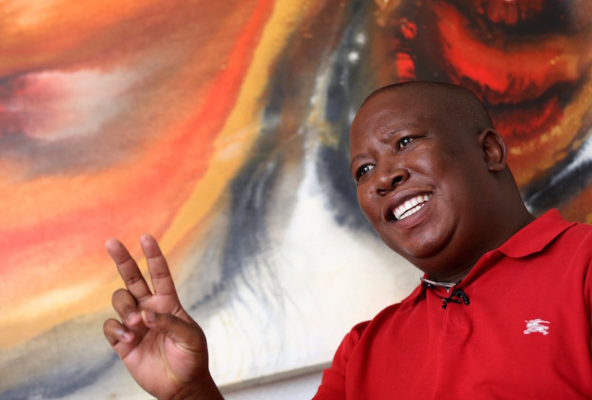 Julius Malema, leader of the leftist Economic Freedom Fighters (EFF) party speaks during an interview with Reuters in Johannesburg, January 27, 2016. REUTERS/Siphiwe Sibeko