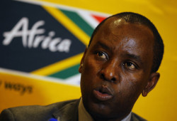Mosebenzi Zwane, South Africa's Minister of Mineral Resources, speaks at a media briefing at the Investing in African Mining Inbaba in Cape Town, February 8, 2016. South Africa's government wants the black economic empowerment legal battle settled outside the courts, Zwane said on Monday, to end uncertainty over a policy meant to spread economic wealth to the black majority. REUTERS/Mike Hutchings