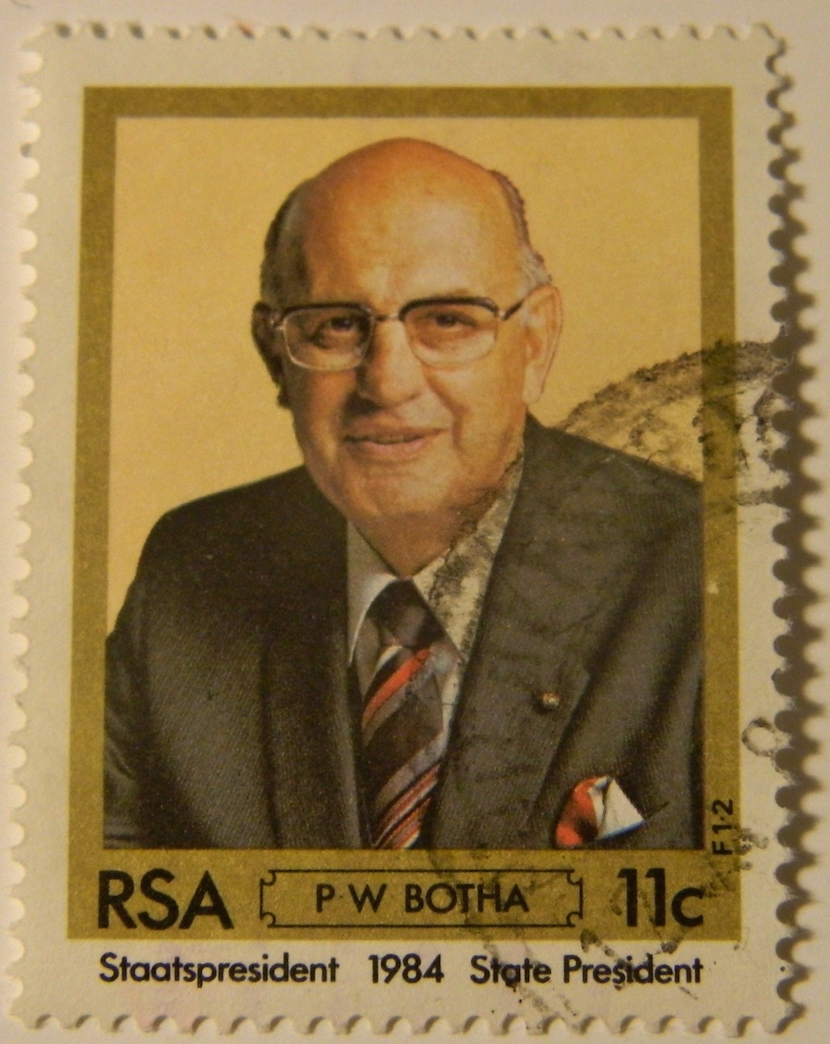 Former South African President PW Botha on a postage stamp.