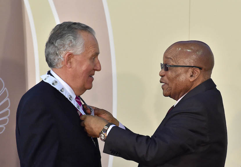 President Jacob Zuma bestows the Order of the Companions of OR Tambo in Silver to Peter Hain (UK)). President Jacob Zuma bestows the National Orders Awards on local citizens and eminent foreign nationals who have contributed immensely towards the advancement of democracy, excelled in various endeavours as well as those who have made a significant impact on improving the lives of South Africans in various ways. 08/12/2015, Sefako Makgatho Presidential Guest House, Pretoria, Elmond Jiyane, GCIS