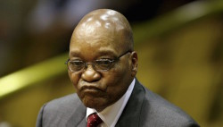 ANC president Jacob Zuma looks on at the National Assembly in Cape Town, in this September 25, 2008 file photo. REUTERS/Nic Bothma