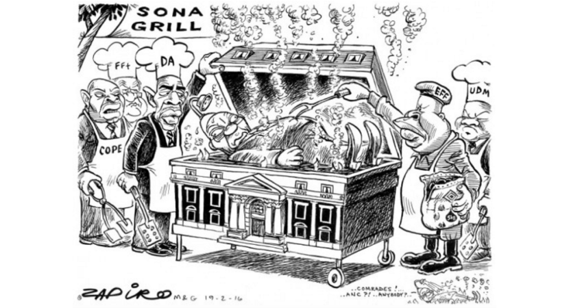 The SONA grill never lived up to expectations as the EFF excused it self from the proceedings. More Zapiro magic a www.zapiro.com