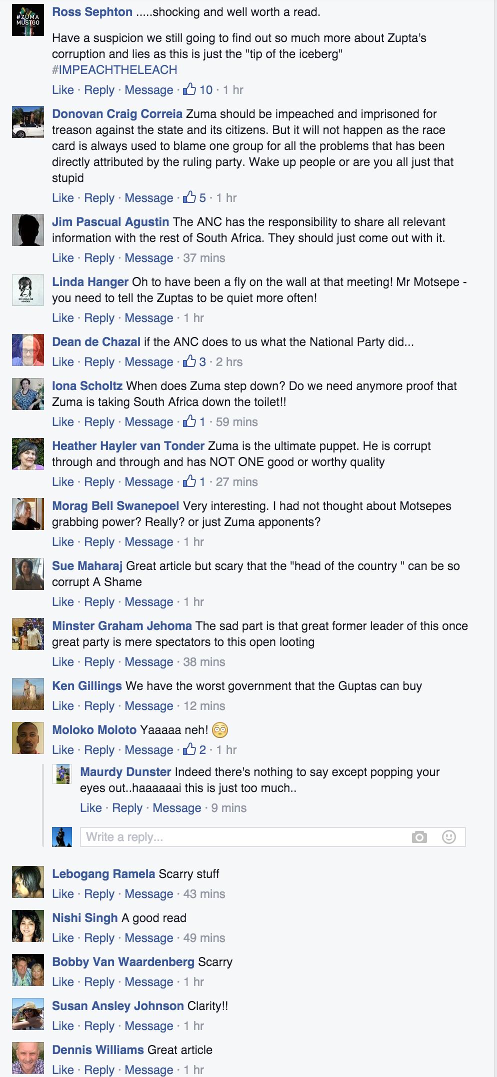 Comments on Van Rooyen's advisors