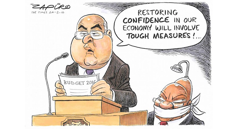 Zapiro's shows finance minister Pravin Gordhan how to restore confidence in the South African economy with the Budget. More magic available at www.zapiro.com