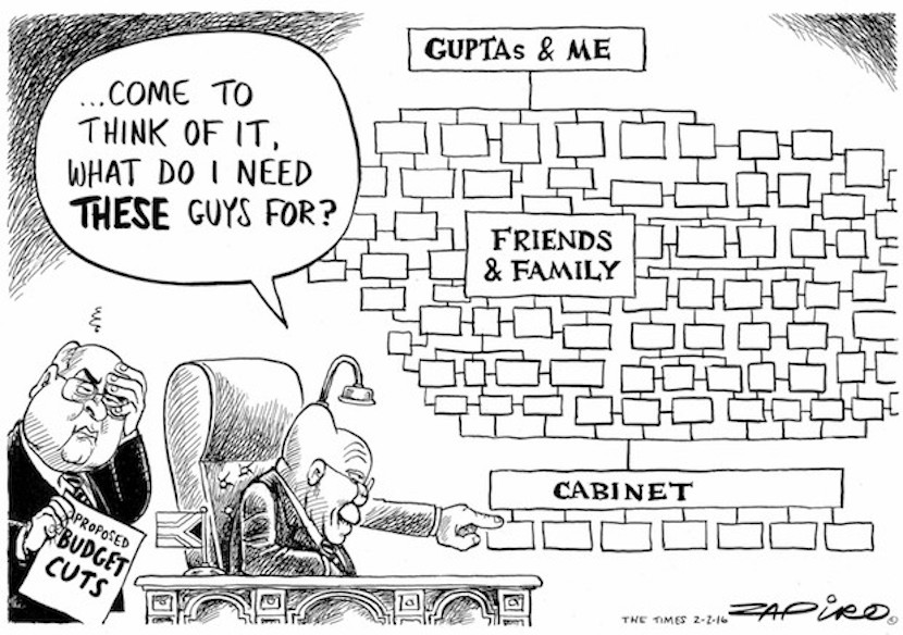 Zapiro provides his perspective of Pravin Gordhan's enormous task of retaining SA's investment grade credit rating - more magic at zapiro.com