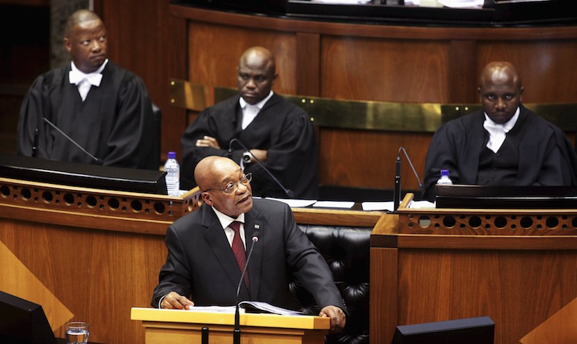 South Africa's President Jacob Zuma delivers his State of the Nation address at the opening session of Parliament in Cape Town, February 11, 2016. REUTERS/Schalk van Zuydam