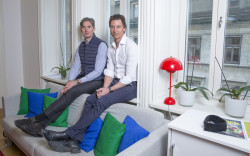 Jonas Nordlander, co-founder and chief executive officer of Avito AB, left, and Filip Engelbert, co-founder of Avito AB, pose for a photograph at their offices in Stockholm, Sweden, on Monday, March 14, 2016. Last year Naspers Ltd., Africa's largest company by market value, agreed to buy a majority stake in Russian Internet advertising company Avito in a $1.2 billion acquisition from other shareholders. Photographer: Johan Jeppsson/Bloomberg *** Local Caption *** Jonas Nordlander; Filip Engelbert