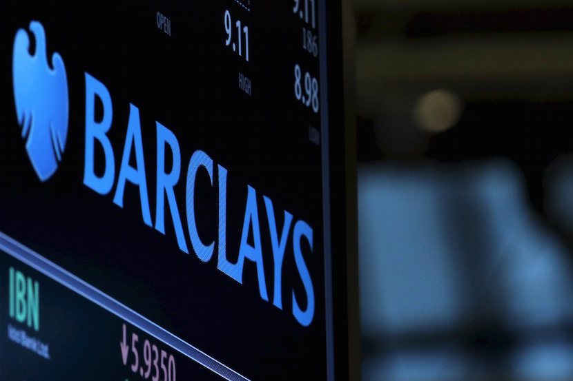 A screen displays the ticker symbol and information for Barclays on the floor of the New York Stock Exchange (NYSE) in this February 9, 2016 file photo. REUTERS/Brendan McDermid/Files