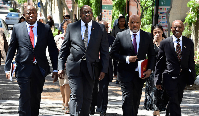 File photo: Deputy Finance Minister Mcebisi Jonas walks alongside former Finance Minister Nhlanhla Nene at the 2015 Budget Address.