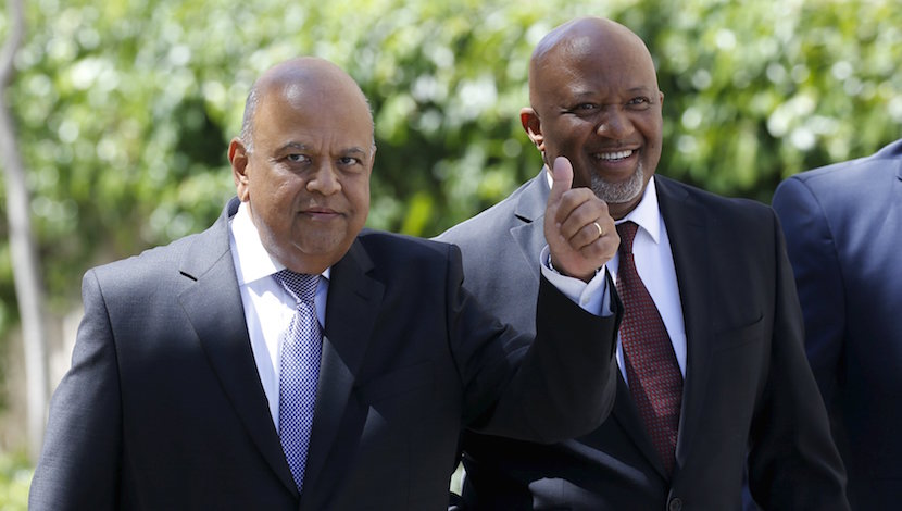 South Africa's Deputy Finance Minister Mcebisi Jonas (R) arrives with Finance Minister Pravin Gordhan for Gordhan's 2016 Budget address in Cape Town in this February 24, 2016 file photo. To match SAFRICA-FINMIN/GUPTA REUTERS/Mike Hutchings/Files