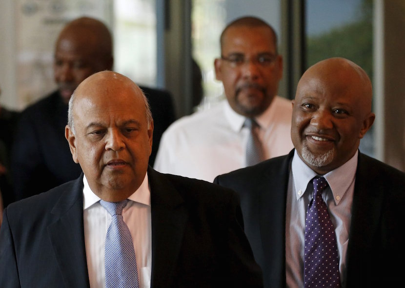 South Africa's Deputy Finance Minister Mcebisi Jonas (R) and Finance Minister Pravin Gordhan arrive for a media briefing in Pretoria in this December 14, 2015 file photo. REUTERS/Siphiwe Sibeko/Files