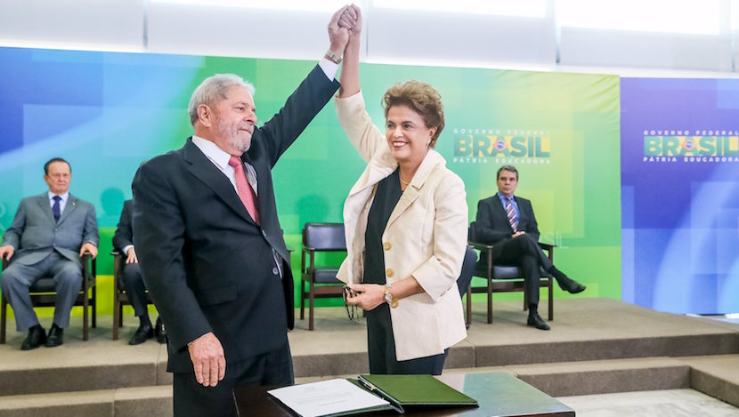 Brazil's President Dilma Rousseff (R) greets Brazil's former president Luiz Inacio Lula da Silva during the appointment of Lula da Silva as chief of staff, at Planalto palace in Brasilia, in this March 17, 2016 handout picture. REUTERS/Roberto Stuckert Filho/Brazilian Presidency/Handout via Reuters