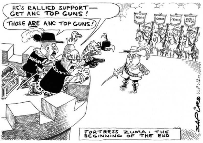 Fortress Zuma coming under attack by forces led by Finance Minister Pravin Gordhan. More Zapiro magic available at www.zapiro.com.