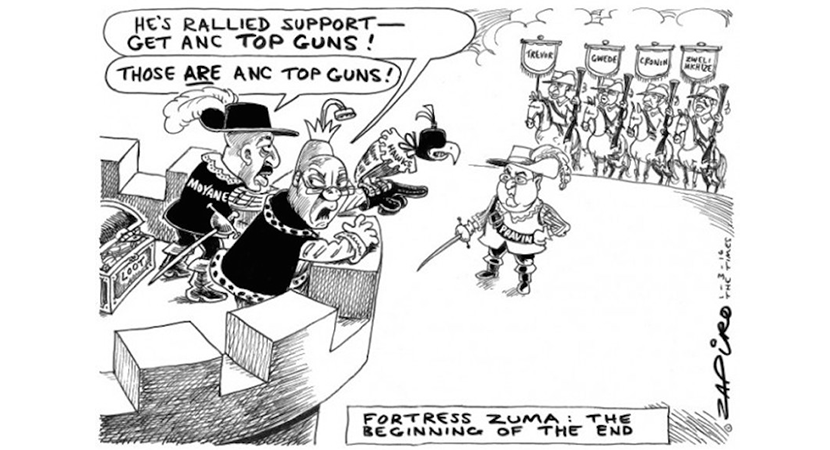Fortress Zuma coming under attack by forces led by Finance Minister Pravin Gordhan. More Zapiro magic available at www.zapiro.com