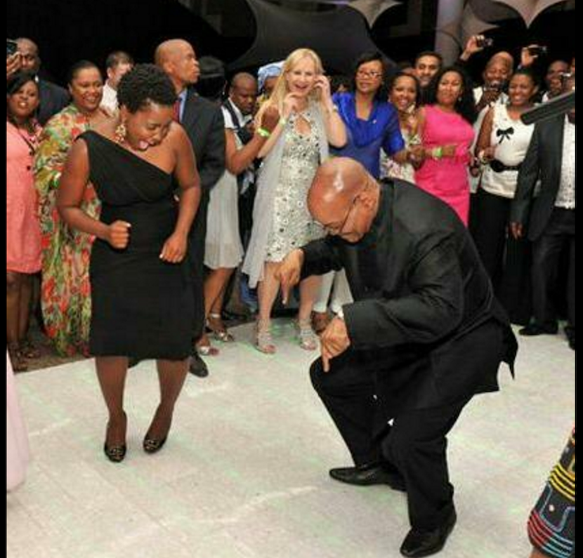 President Jacob Zuma celebrates avoiding the axe this weekend. But it is a stay of execution, nowt exoneration. Pic: Twitter