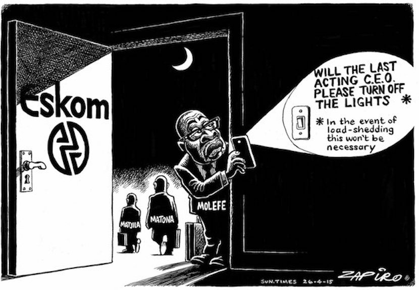 How SA's top cartoonist sees the revolving door of Eskom executives. More at zapiro.com