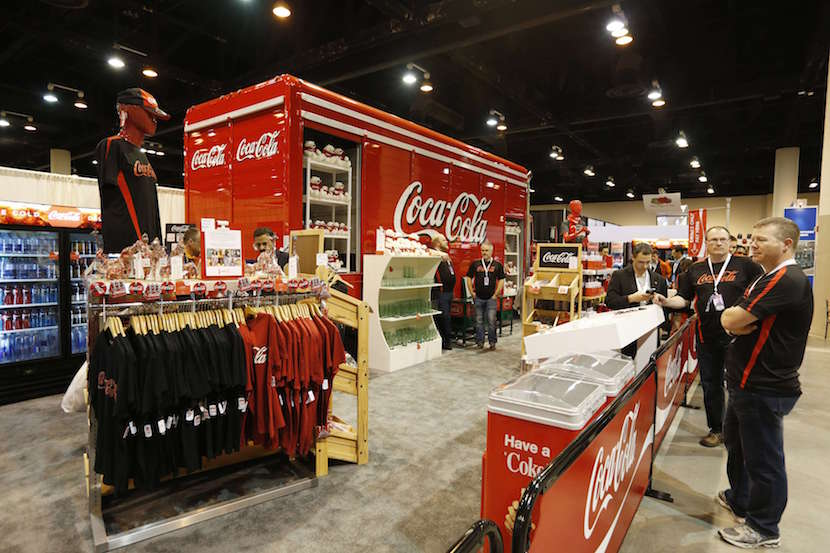 The Coca-Cola booth is set up in the exhibit hall of the Berkshire Hathaway Annual Shareholders Meeting at the CenturyLink Center in Omaha, Nebraska, U.S. April 30, 2016. REUTERS/Ryan Henriksen