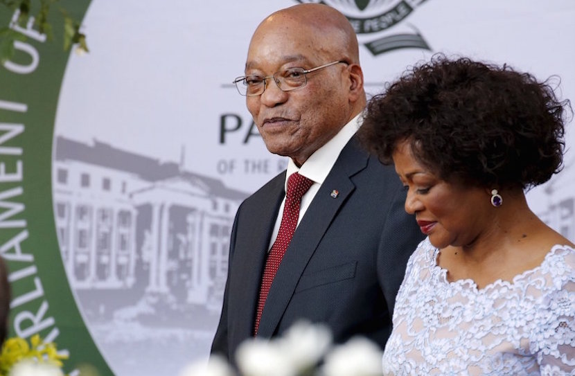 South Africa's President Jacob Zuma arrives with Speaker of Parliament Baleka Mbete to give his State of the Nation address at the opening session of Parliament in Cape Town, February 11, 2016. REUTERS/Mike Hutchings