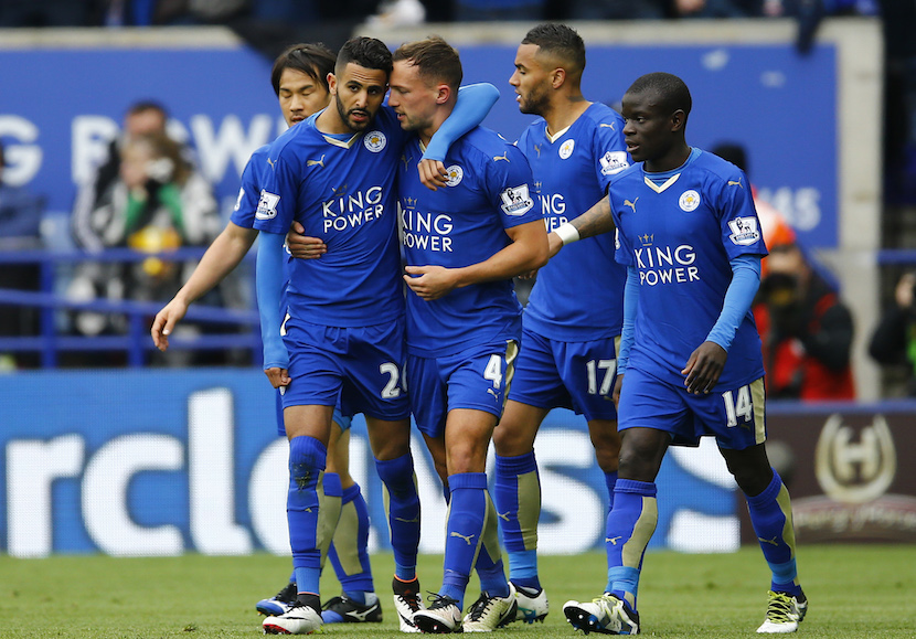 Football Soccer - Leicester City v Swansea City - Barclays Premier League - The King Power Stadium - 15/16 - 24/4/16 Riyad Mahrez celebrates with team mates after scoring the first goal for Leicester. Reuters/Darren Staples