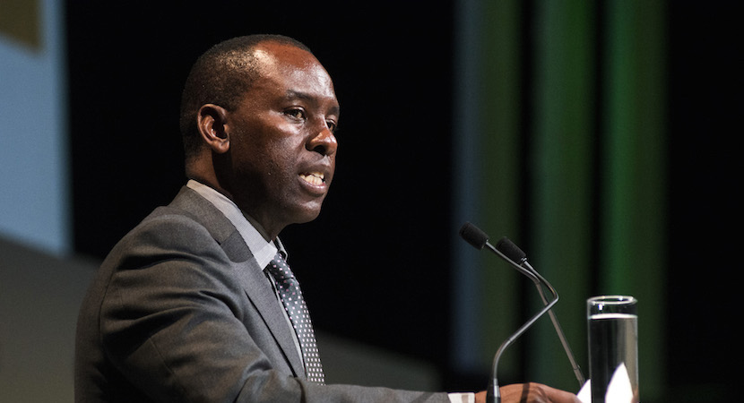 Mosebenzi Zwane, South Africa's mineral resources minister, speaks on the opening day of the Investing in African Mining Indaba in Cape Town, South Africa, on Monday, Feb. 8, 2016. With many miners battling to stay afloat, fewer are willing to shell out 1,140 pounds ($1,641) for the Investing in African Mining Indaba conference in South Africa and business-class airfare. Photographer: Waldo Swiegers/Bloomberg *** Local Caption *** Mosebenzi Zwane