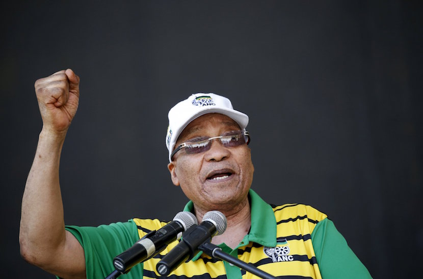 South African President Jacob Zuma addresses supporters of his ruling African National Congress (ANC), at a rally to launch the ANC's local government election manifesto in Port Elizabeth, April 16, 2016. REUTERS/Mike Hutchings      TPX IMAGES OF THE DAY
