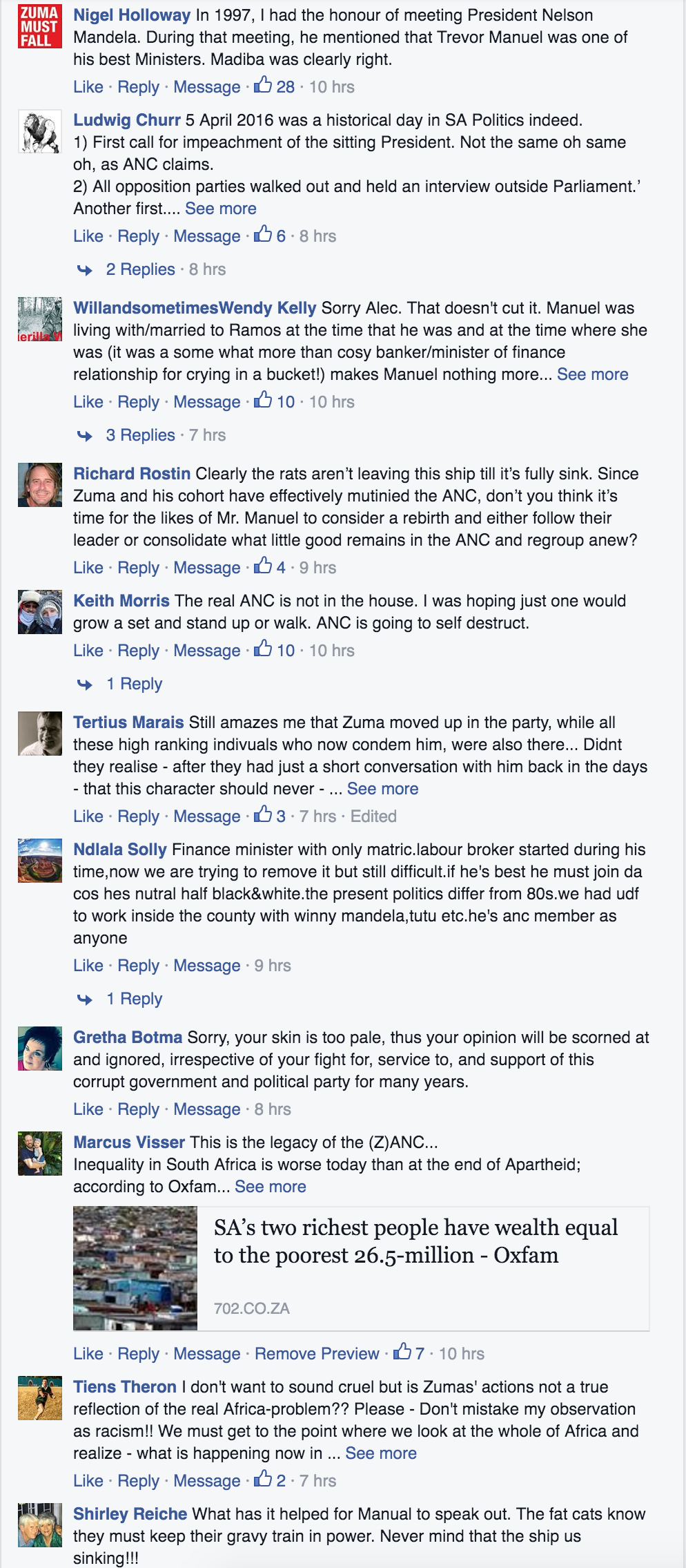 Some of the many comments expressed under the link to this story on Alec Hogg's Facebook page