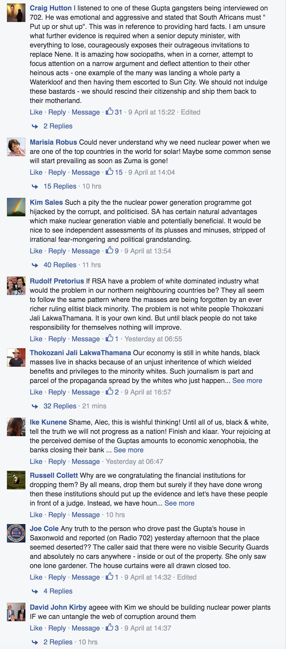Some of the comments posted under the link to this story on Alec Hogg's Facebook page