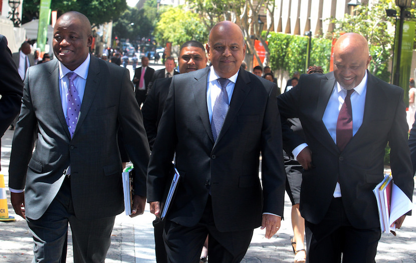 Director-General of the National Treasury Lungisa Fuzile (L), Finance Minister Pravin Gordhan and Deputy Finance Minister Mcebisi Jonas (R).