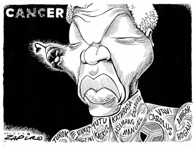 """SA's leading cartoonist Jonathan Shapiro was deeply embedded into the anti-Apartheid movement with impeccable """"struggle"""" credentials. So when he illustrates his views this forcefully, it reflects the thoughts of many. For more Zapiro magic, click here."""