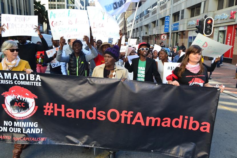 #HandsOffAmadiba protests in Cape Town. Pic credit: Amandla Media