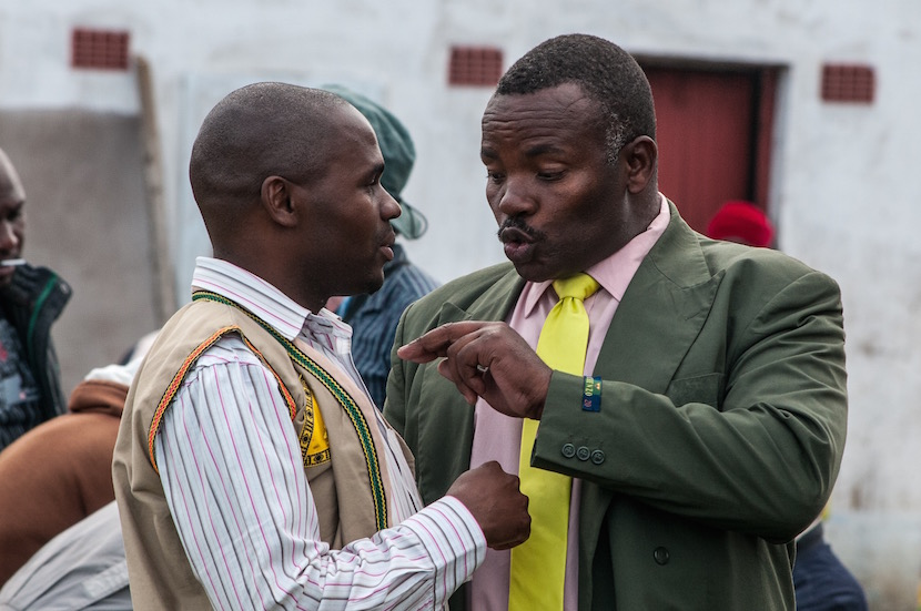 File photo: Bazooka Rhadebe scolds Zeka Mnyamana, who was then director of Xolco after the public participation meeting where Xolco was asked to leave. Pic credit - Cheryl Alexander..