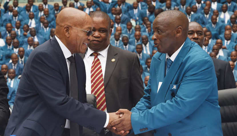 File photo: President Jacob Zuma and TACC President and Chief Apostle, Professor Caesar Nongqunga during the Twelve Apostle Church in Christ International Thanksgiving Day Celebration at Moses Mabhida Stadium in Durban, KwaZulu Natal. South Africa. 30/11/2014. Siyabulela Duda
