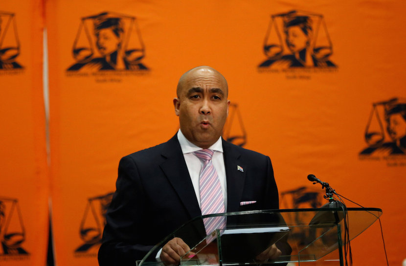 National Director of Public Prosecutions, Shaun Abrahams speaks during a media briefing in Pretoria, South Africa, May 23, 2016. REUTERS/Siphiwe Sibeko