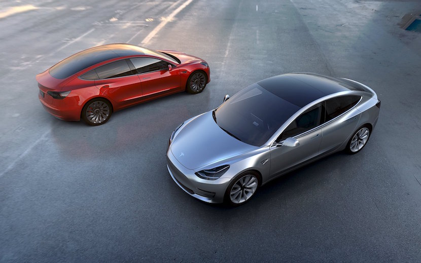 Tesla Motors' mass-market Model 3 electric cars are seen in this handout picture from Tesla Motors on March 31, 2016. REUTERS/Tesla Motors/Handout via Reuters/File Photo ATTENTION EDITORS - THIS PICTURE WAS PROVIDED BY A THIRD PARTY. REUTERS IS UNABLE TO INDEPENDENTLY VERIFY THE AUTHENTICITY, CONTENT, LOCATION OR DATE OF THIS IMAGE. IT IS DISTRIBUTED EXACTLY AS RECEIVED BY REUTERS, AS A SERVICE TO CLIENTS. FOR EDITORIAL USE ONLY. NOT FOR SALE FOR MARKETING OR ADVERTISING CAMPAIGNS. TPX IMAGES OF THE DAY GLOBAL BUSINESS WEEK AHEAD PACKAGE - SEARCH 'BUSINESS WEEK AHEAD MAY 2' FOR ALL IMAGES