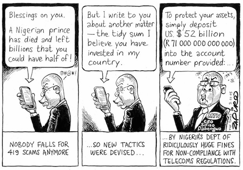 Nigeria cut MTN's fine to $1.67bn but some commentators say it's still too excessive. This is Zapiro's take on the matter. More magic available at www.zapiro.com.
