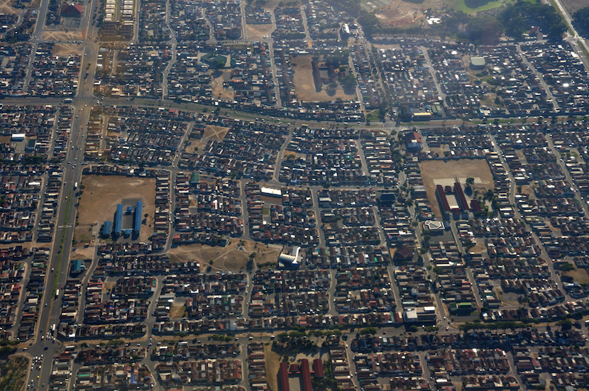 An aerial view of Mitchells Plain in Cape Town.