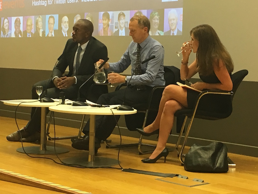 During question time. from left DA leader Mmusi Maimane, Head of the LSE's Department of International Development Professor Tim Allen; and Dr Kate Orkin from Oxford University.
