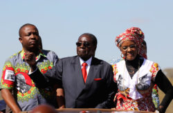 """Zimbabwe's President Robert Mugabe and his wife Grace greet supporters of his ZANU (PF) party during the """"One Million Man March"""",  a show of support of Mugabe's rule in Harare, Zimbabwe, May 25, 2016.  REUTERS/Philimon Bulawayo.     TPX IMAGES OF THE DAY"""