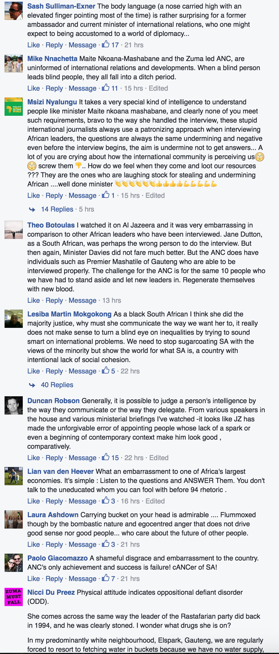Some of the many comments posted under the link to this interview on Alec Hogg's Facebook page