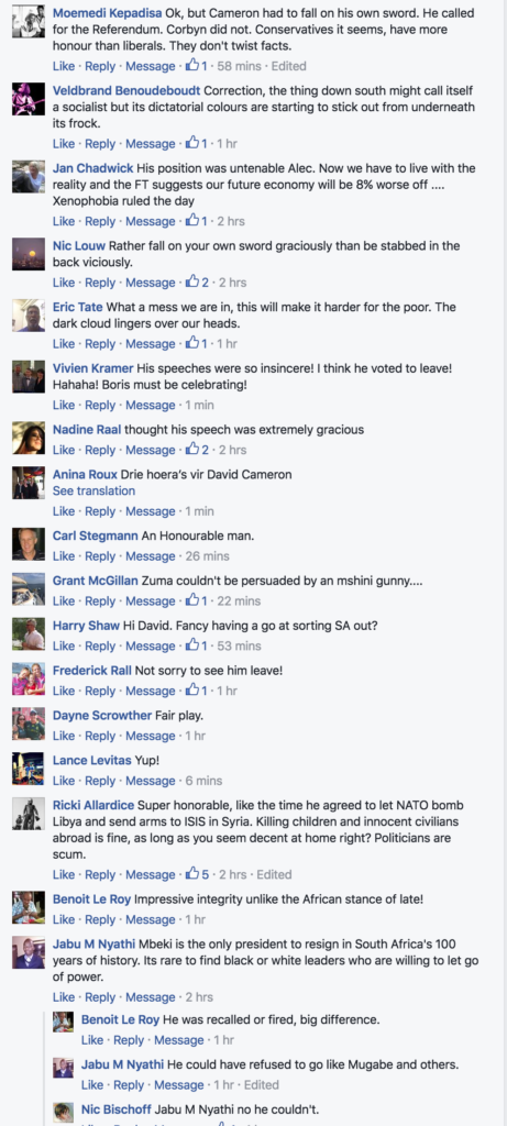 Some of the comments underneath the link to this story on Alec Hogg's Facebook page